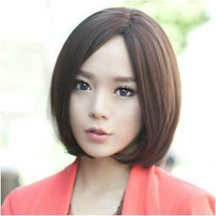 short wig dark brown middle 22/ready stock/ rambut palsu/ promo L