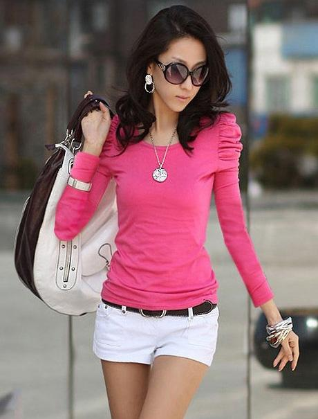 Show-slim Bubble Long Sleeve Blouse 12955 (Rose Pink)