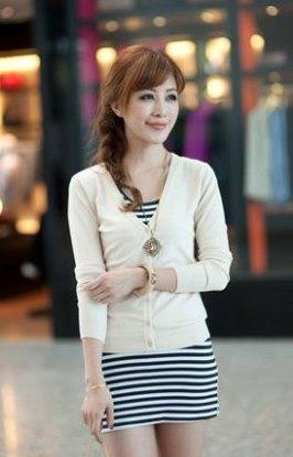 Show-slim V Long Sleeve Knit Jacket (Apricot)