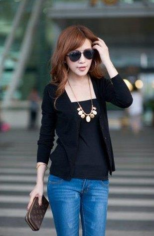 Show-slim V Long Sleeve Knit Jacket (Black)