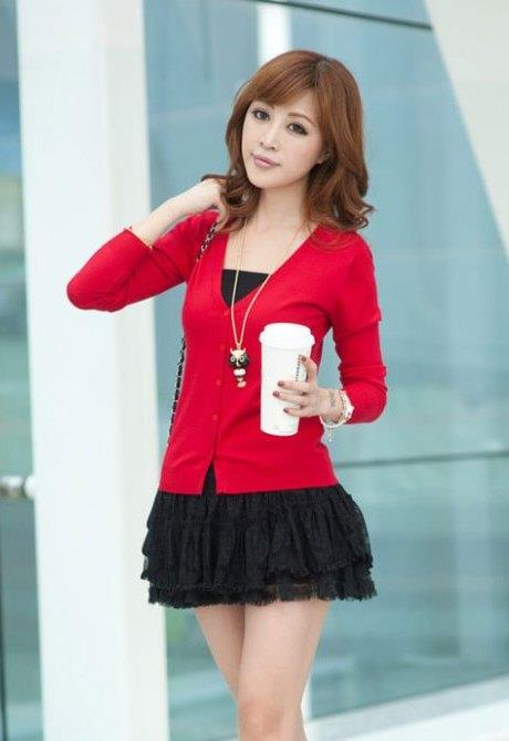 Show-slim V Long Sleeve Knit Jacket (Red)