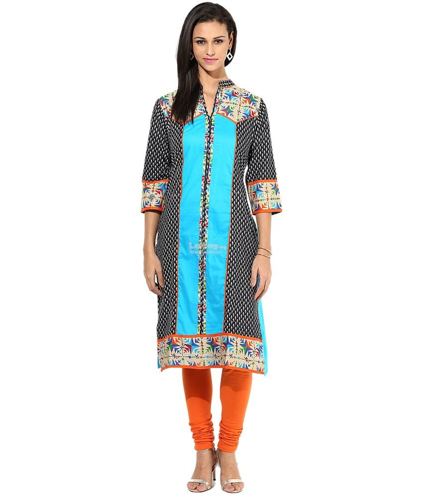 Shree Turquoise Cotton STRAIGHT Kurti