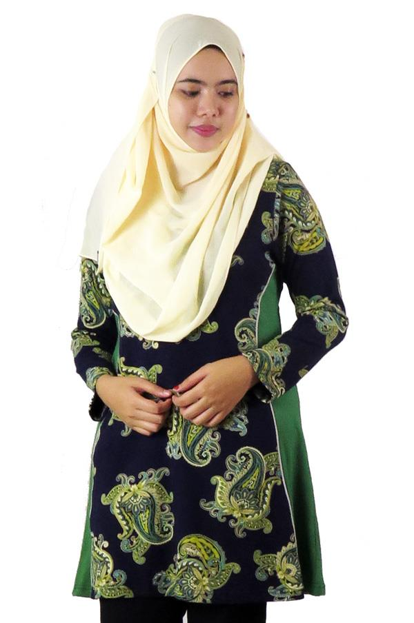 Side Panel Top / Blouse- Green (aq890h)
