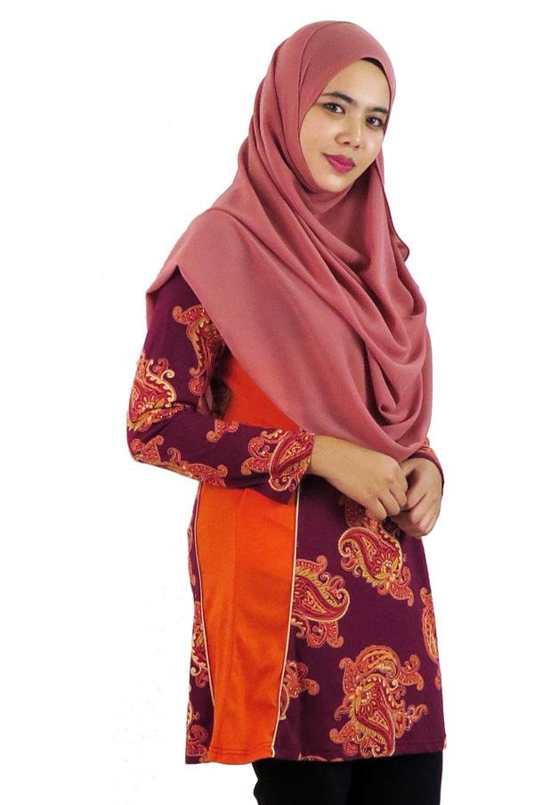 Side Panel Top / Blouse - Orange (aq890g)
