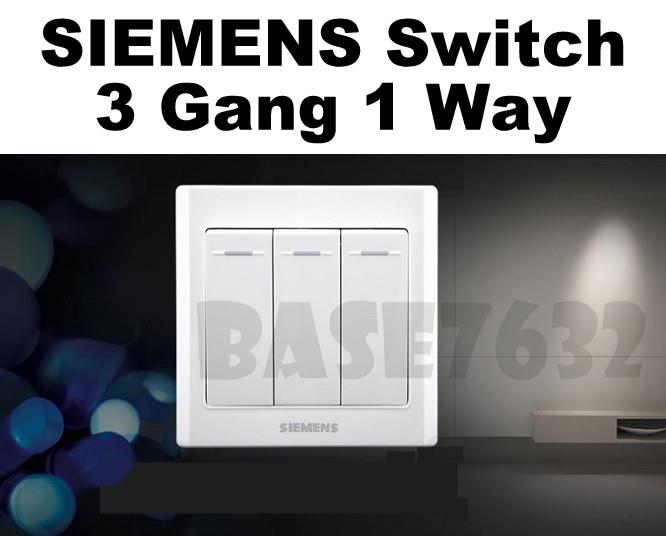 SIEMENS  Wall Mounted 3 Gang 1 Way Socket Three Gang One Way Switch
