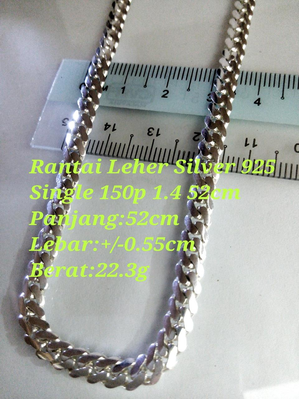 silver 925 Rantai Leher Single 150 1.4 52cm