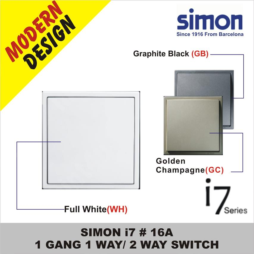 SIMON i7 #  16A 1 GANG 1 WAY / 2 WAY SWITCH