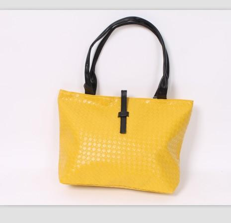 Simple Design Buckle Embellished Check Bag Yellow