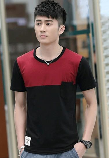 Simple Mix-Colour Pocket Men T-shirt (Red Black)