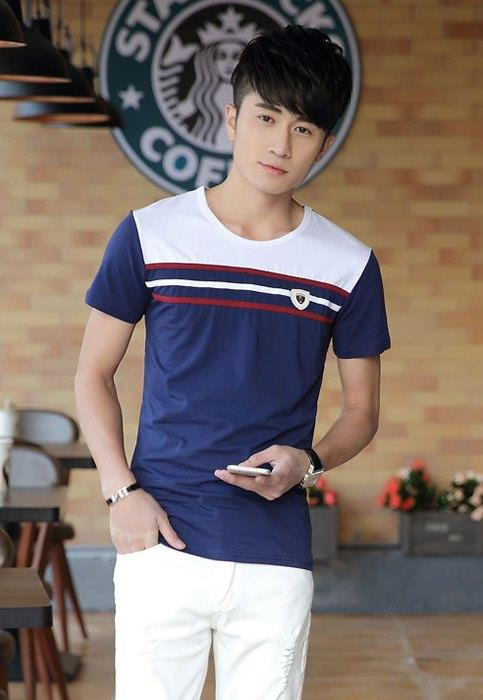 Simple Stripe Mix Colour Men T-shirt (Blue)