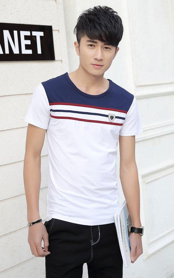 Simple Stripe Mix Colour Men T-shirt (White)