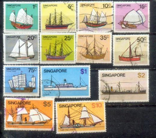 Singapore 1980 Ship Definitive complete set  up to $10