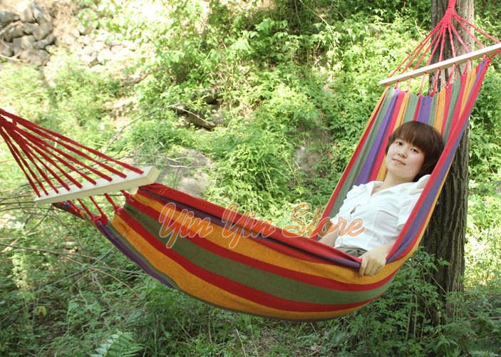 Single Canvas Camping / Outdoor Swing Hammock with Wooden Sticks