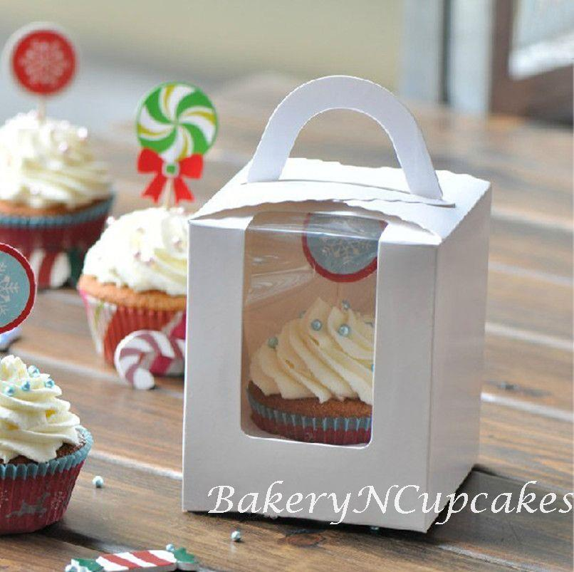 Single Cavity Cupcake Box with Handle and Window