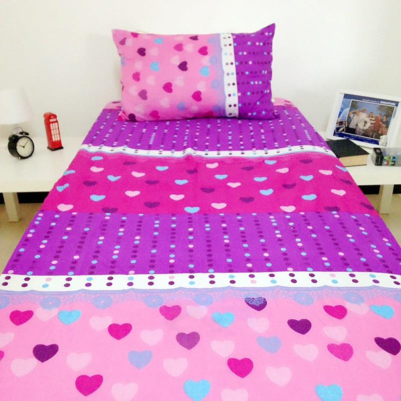 Single Fitted Cadar Bedsheet Bedding Set (Purple Pink Love)