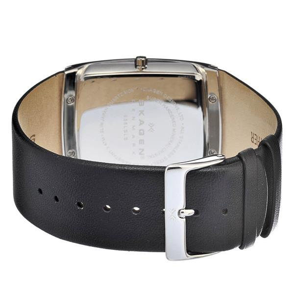 Skagen SKAGEN-656LSLB Women's Black Genuine Leather Silver-Tone Dial