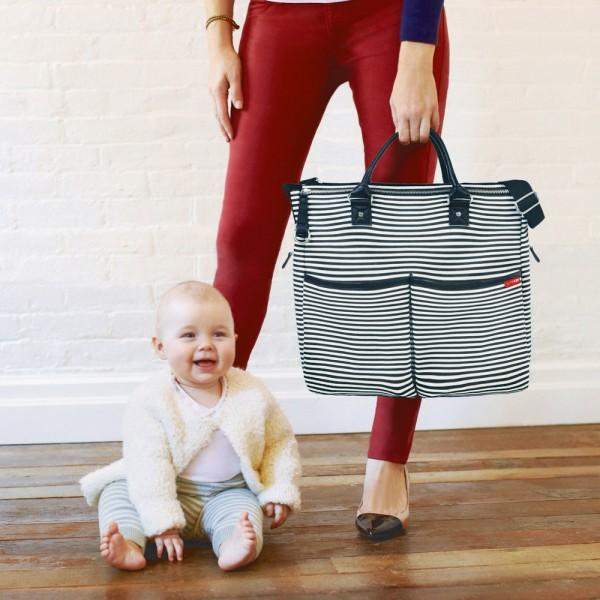 SKIP HOP DUO SPECIAL EDITION DIAPER BAG - BLACK STRIPE AUTHENTIC