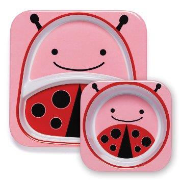 Skip hop Melamine Set - Divided Plate & Bowl Set Ladybug100% Authentic