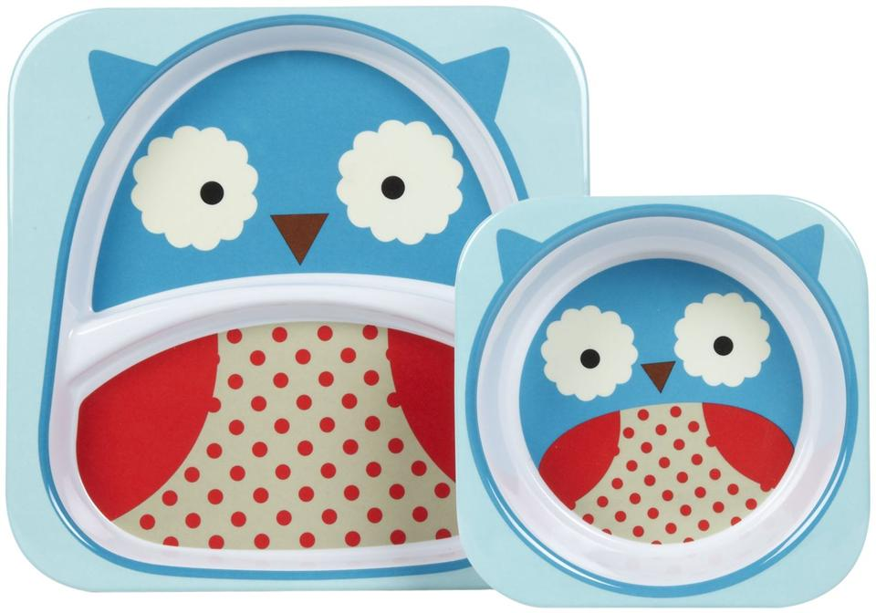 Skip hop Melamine Set - Divided Plate & Bowl Set - Owl 100% Authentic