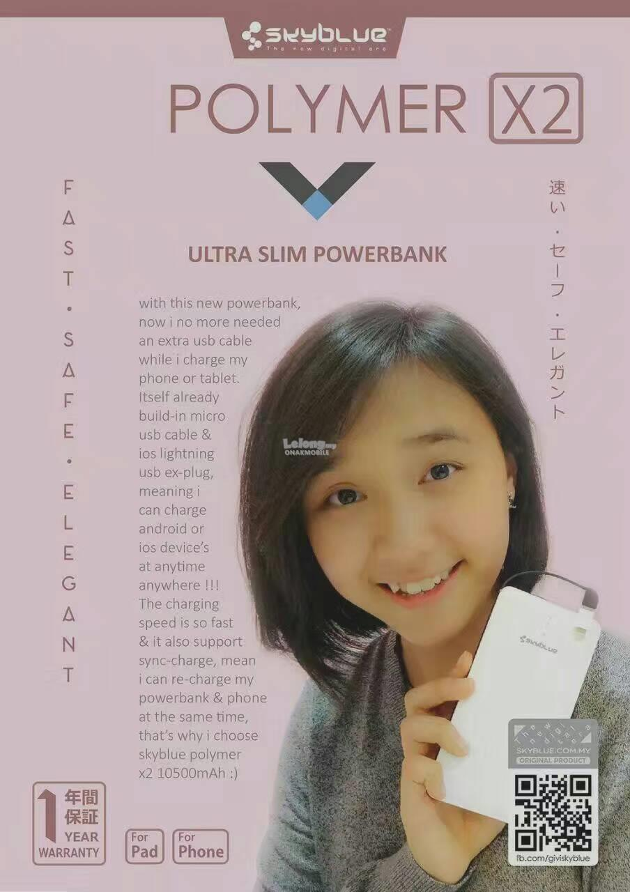 sky blue power bank ori 1 year 1 to 1 excahnge warranty