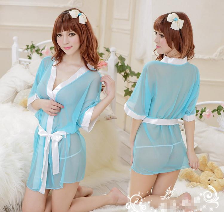 Sky Blue See Through Robes Night Dress + G-string  Sleepwear Lingerie