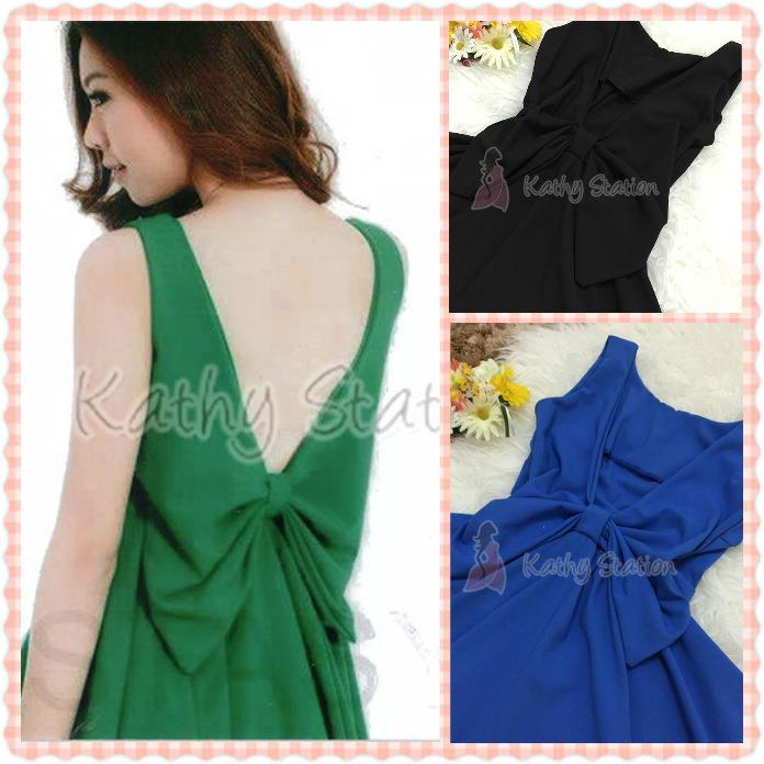 Sleeveless Chiffon Dress Sexy Back V-Deep [10099]