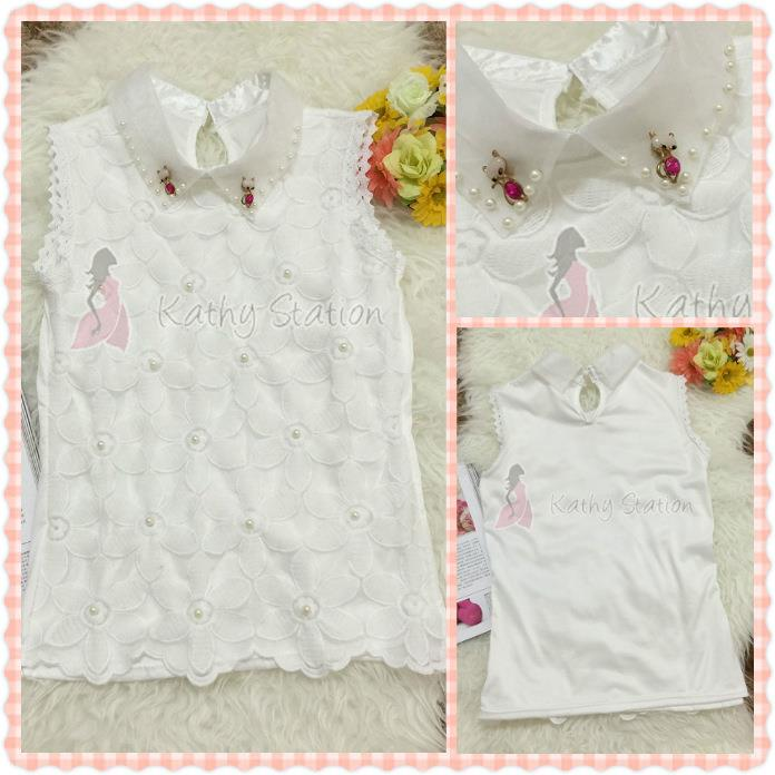 Sleeveless Collar Flower Lace Blouses (Cat Pin Brooch) [10109]