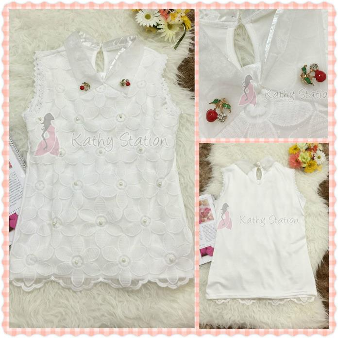 Sleeveless Collar Flower Lace Blouses (Cherry Pin Brooch) [10107]