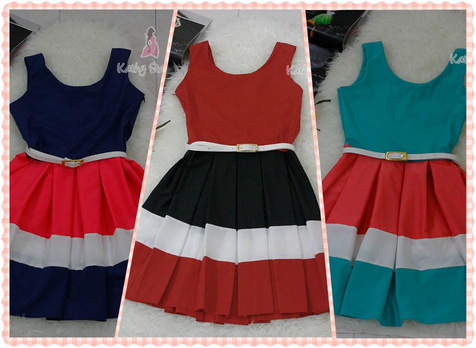 Sleeveless Striped Pleated Dress (With Belt) [10134]