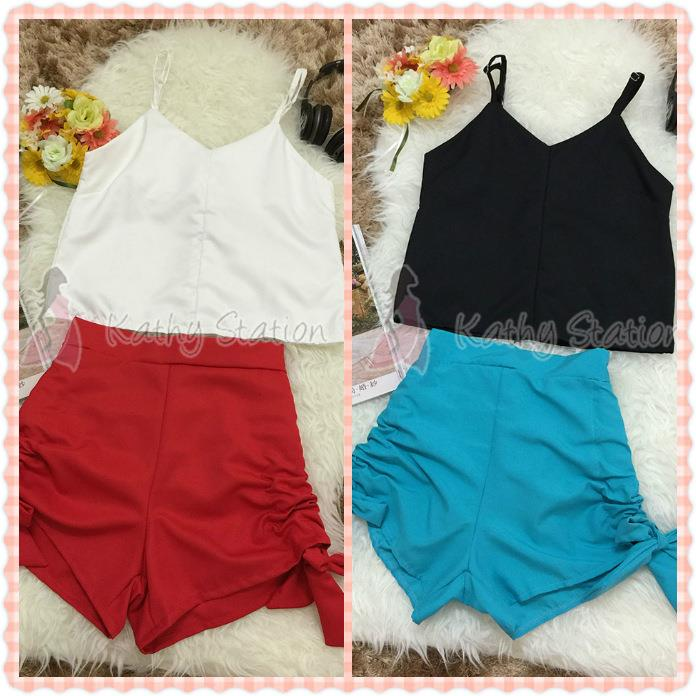 Sleeveless Top with Short Pants Set [10092]