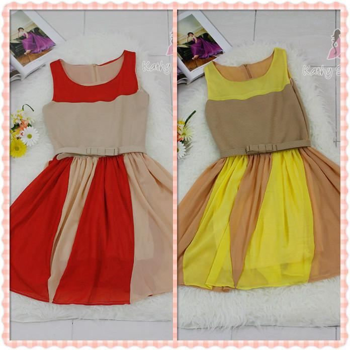 Sleeveless Two-Tone Pleated Chiffon Dress (With Belt) [10123]