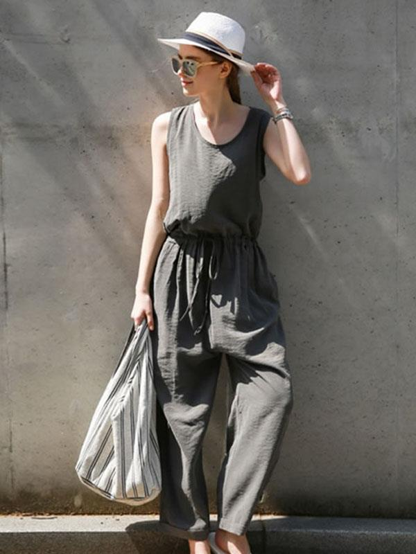 Sleeveless Vest With Back Opening Design Jumpsuit