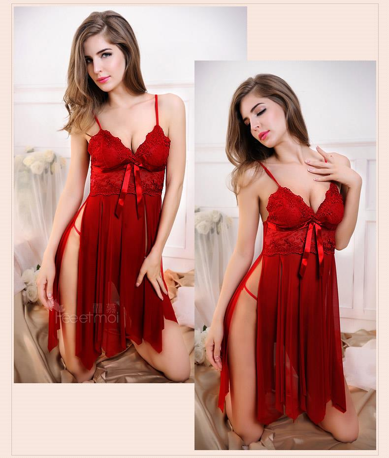 Sling Lace Babydoll Dress + G-string Sleepwear Lingerie (3 colors)