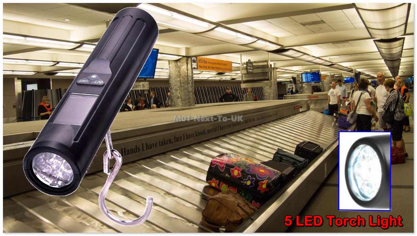 Small Portable Baggage Travel Scale LED Torch Luggage Hanging Weigh