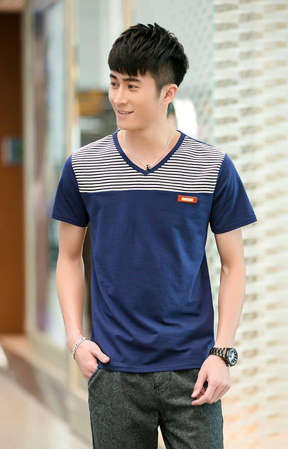 Smart Stripe V Men T-shirt (Dark Blue)