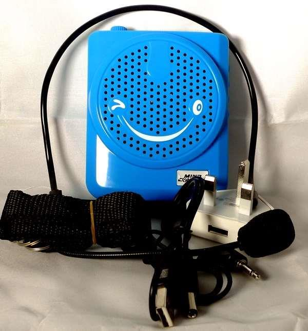 Smile Speaker Amplifier Voice Booster Megaphone Loudspeaker -Blue