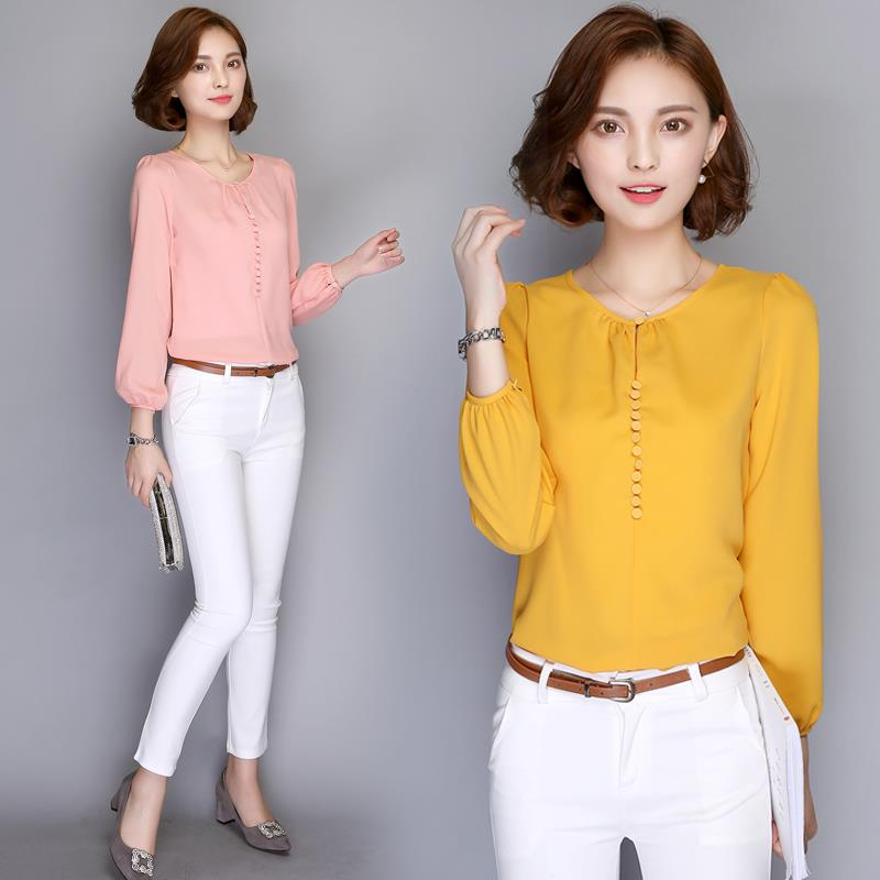 Smooth Chiffon Blouse Long-Sleeve Round Neck Women's Tops S-Plus Size