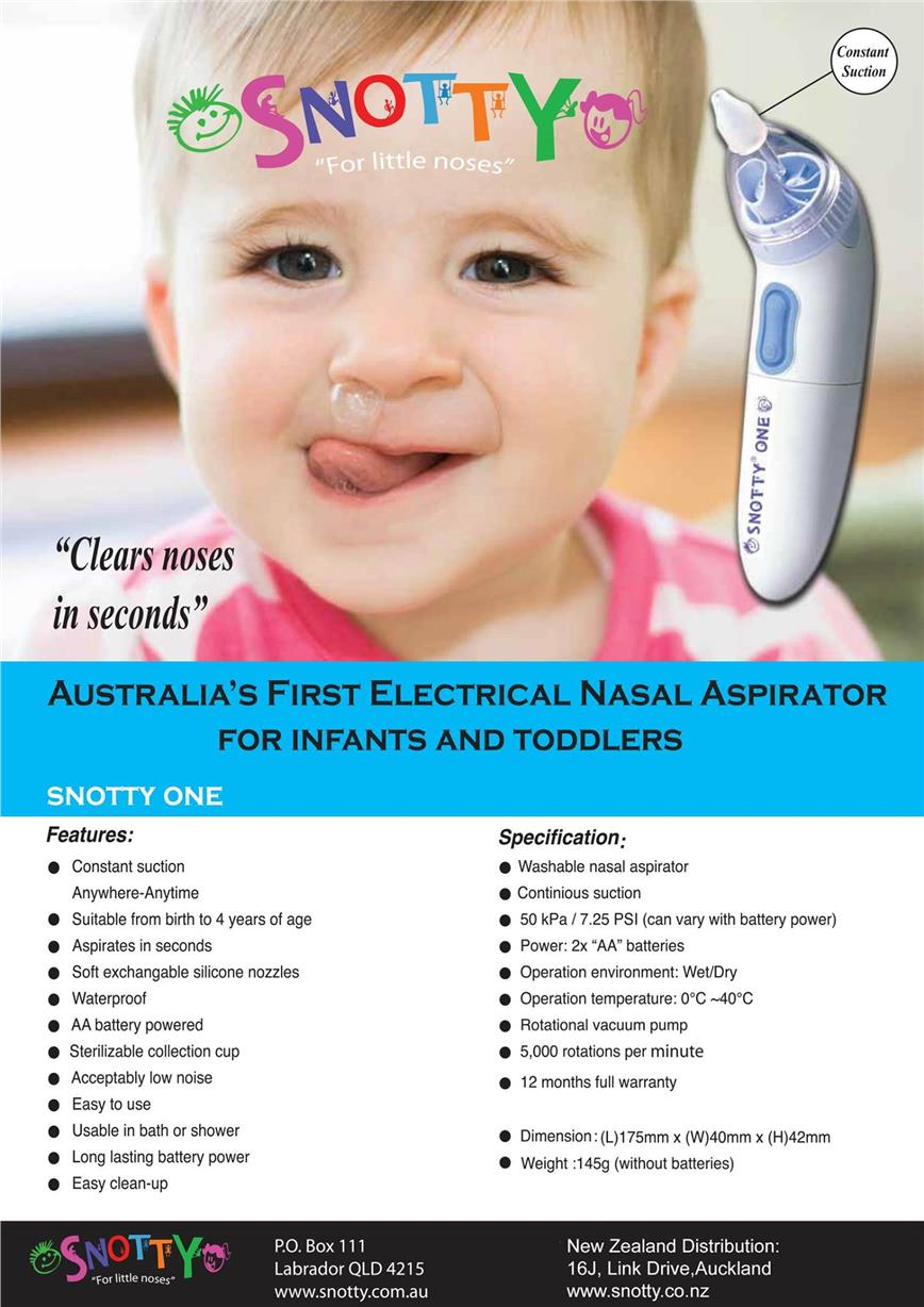 SNOTTY ONE BATTERY OPERATED NASAL ASPIRATOR
