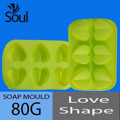 Soap Mould - 6x80G Soap Mould Love Shape