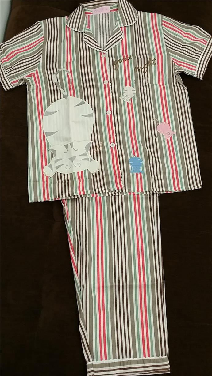 Soft Cotton Pyjamas Embroidry_Cat_Stripe