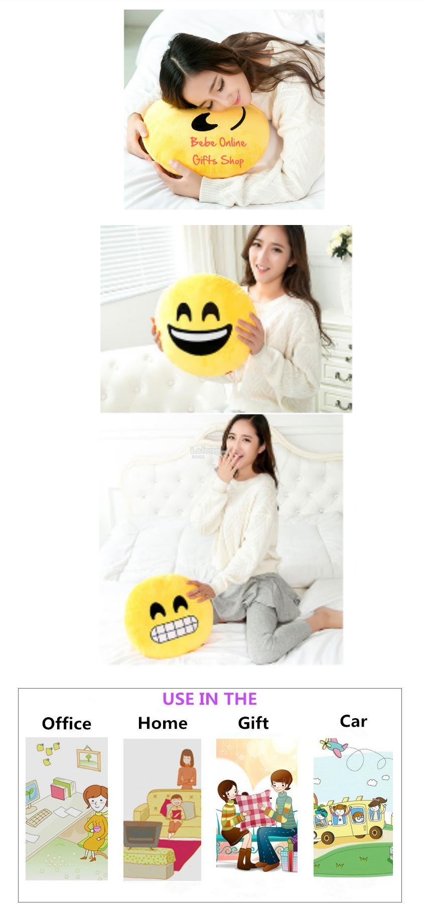 Soft Emoji Smiley Emoticon Round Cushion Stuffed Plush Doll Toy