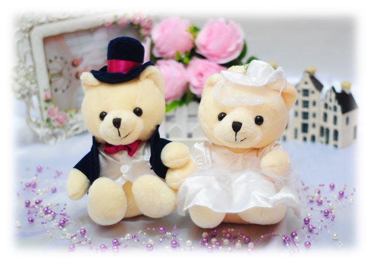 Soft Toy Teddy Bear Wedding Couple (White) Wedding/ Anniversary Gift