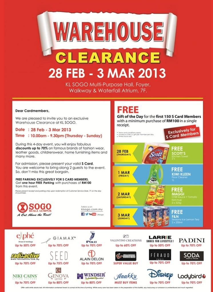 SOGO KL Warehouse Clearance Sale !