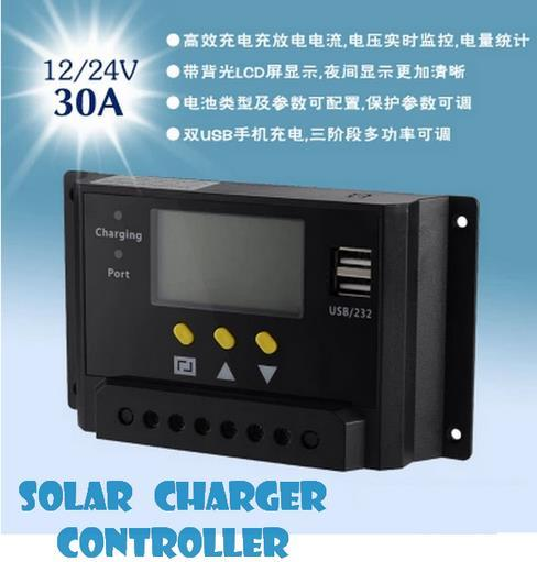 Solar Charger Electric Controller Usb LCD Display 12V / 24V (20A-30A)