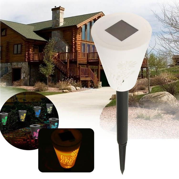 Solar Power Butterfly Pattern LED Night Light Garden Landscape Lamp