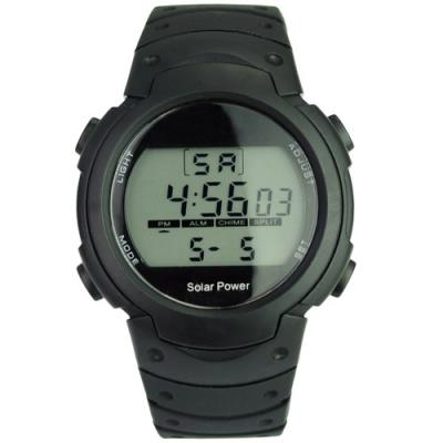 Solar Power and Li-ion Battery Digital Watch with Multi-Functions