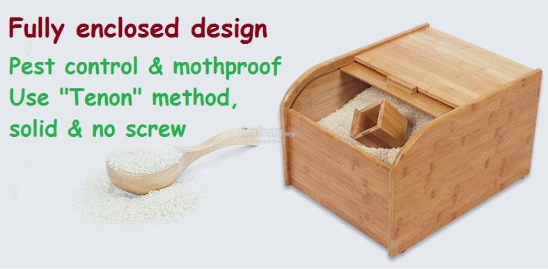 Solid Bamboo Wood Rice bucket, Grains Storage Box, Rice Barrels