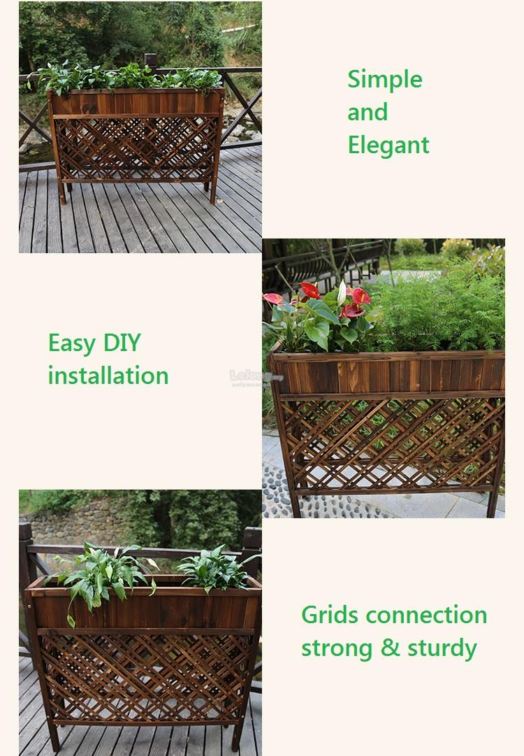 Solid Wood Flower Grid Partition, DIY Wooden Planters Fence