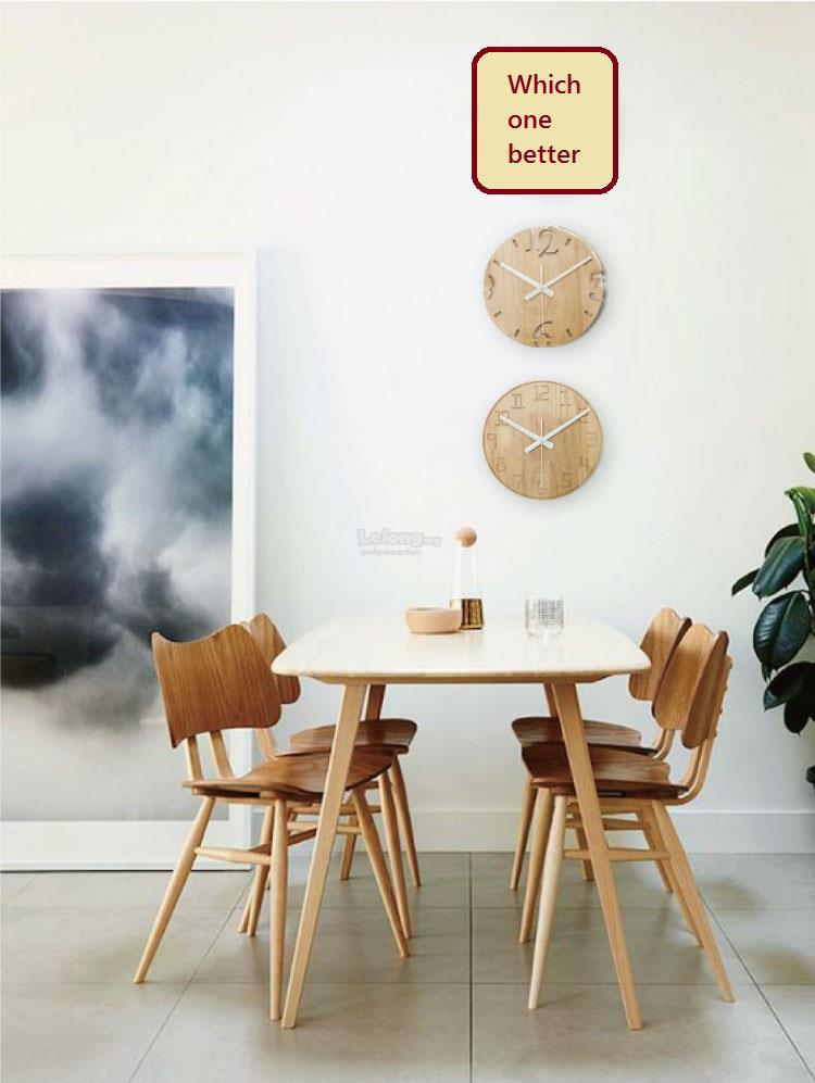 Solid Wood Silent Wall Clock, Wooden Round Clock, Creative Clock