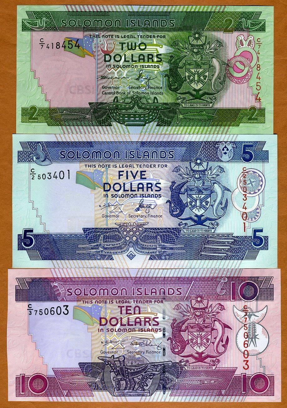 SOLOMON ISLANDS banknotes 2 5 10 Dollars 2006 unc